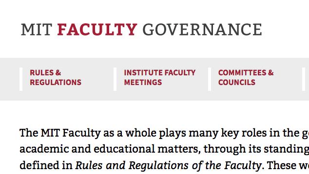Faculty Governance website